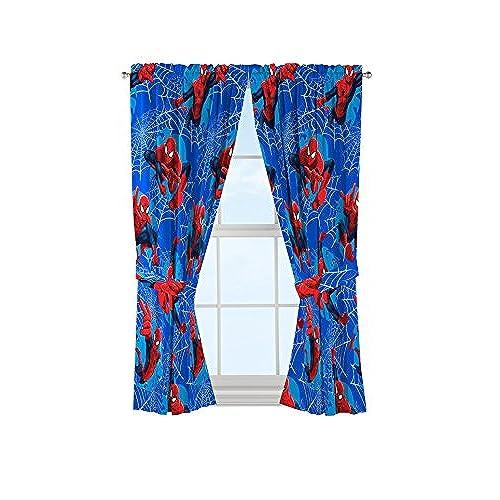 Genial Marvel Spiderman Astonish 63u0027 Window Drapery/Curtain 4pc Set (2 Panels, 2  Tie Backs)