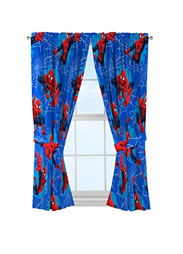 "Marvel Spiderman 'Astonish' Curtain Panel 42"" x 63"" Pair with Tie Backs Set"