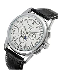 Gosasa Men's Silver Plated Vintage Automatic Moon Phase Black Leather Dress Watch With White Dial