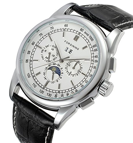 Gosasa Men's Silver Plated Vintage Automatic Moon Phase Black Leather Dress Watch With White Dial - Moon Phase White Dial