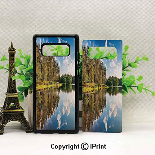 Case for Galaxy note8,Alive Forest with Clean Sky with Less Clouds Reflected to The Lake in a Summer Day Decorative Shockproof Series TPU Bumper Protective Case for Samsung Galaxy note8, 2017 Release