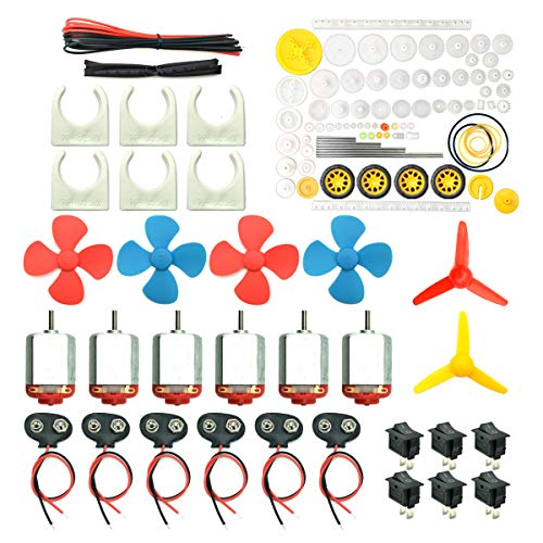 (EUDAX 6 Set DC Motors Kit, Mini Electric Hobby Motor 3V -12V 25000 RPM Strong Magnetic with 86Pcs Plastic Gears, 9V Battery Clip Connector,Boat Rocker Switch,Shaft Propeller for DIY Science Projects)