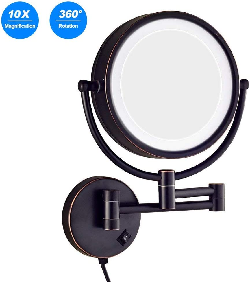 Amazon Com Makeup Mirror Wall Mount 10x Magnifcation Vanity Mirror Wall Mount Black Lighted With Plug In Bathroom Magnifying Mirror 8 5 Inch Double Sided Swivel Extendable For Shaving Make Up