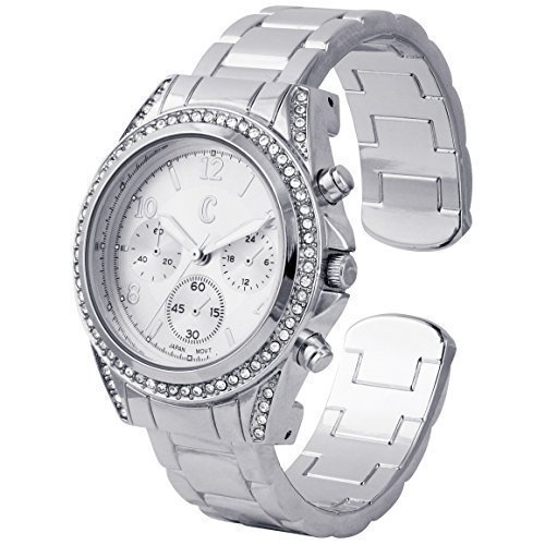 Charming Silver Plated With Classic Round CZ Stainless steel Back Boyfriend Cuff/Bangle Watch