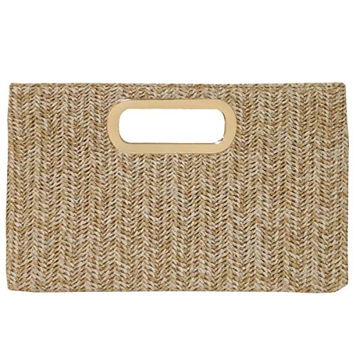 Top Handle Straw Clutch