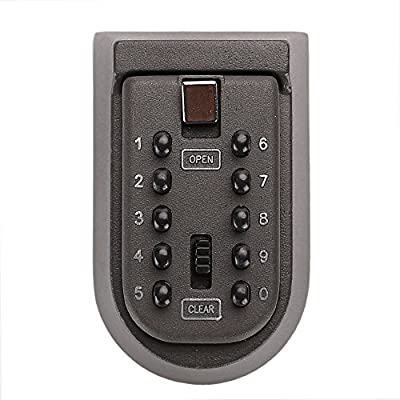 Tekmun Realtor Wall Mount Key Lock Box with 10-Digit Push-Button Combination is Weather Resistant for Indoors or Outdoors and Holds up to 5 Keys