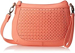 T-Shirt & Jeans Perforated Cross Body Bag, Coral, One Size