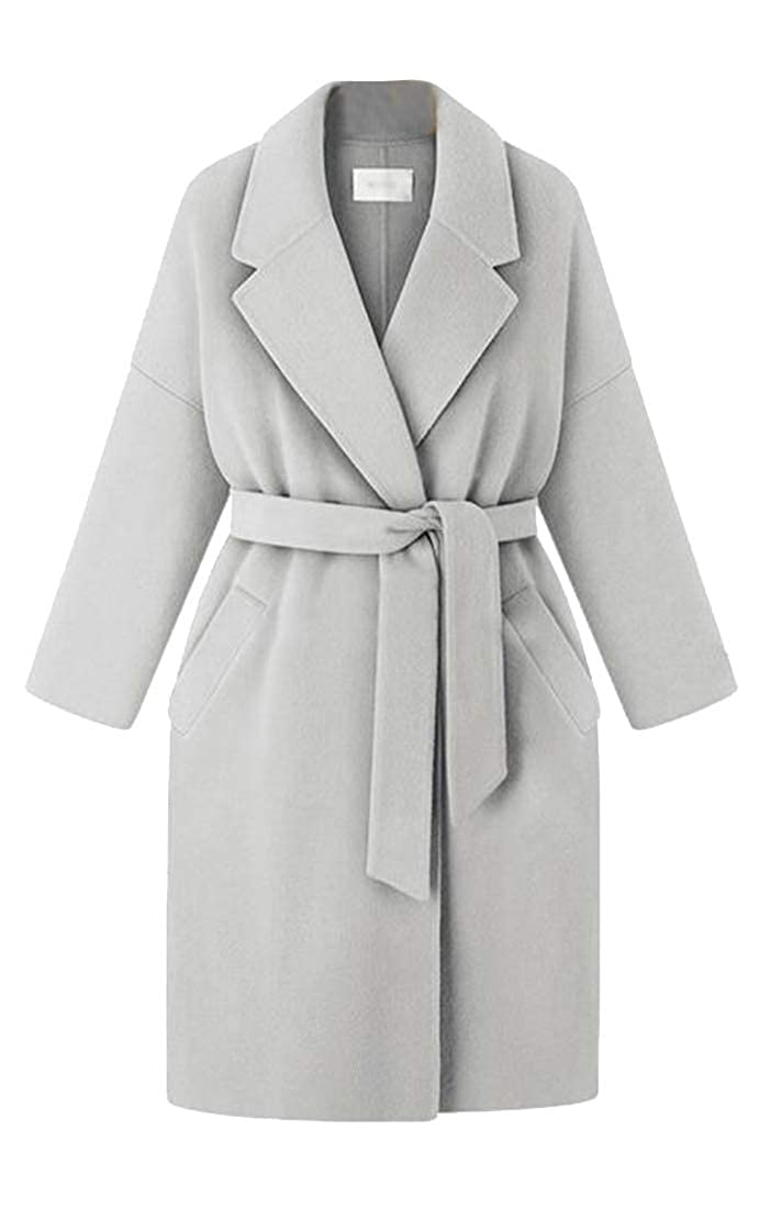 Fubotevic Womens Loose Plus Size Belted Casual Polar Fleece Trench Pea Coat Outerwear