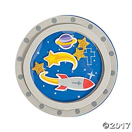 Set of 12 God's Galaxy VBS Porthole Magnet Foam Project Craft Kit ~ Rocket Space Theme