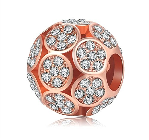 Charm Central Premium Rose Gold Tone White Rhinestone Circles Charm for Charm Bracelets - Fits Pandora (Circle Birthstone Charm)