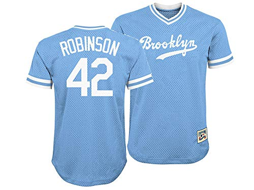 (Outerstuff Brooklyn Dodgers Jackie Robinson Majestic MLB Youth Stitched V-Neck Jersey (Youth Small 8))