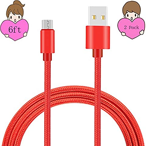 Sogola Micro USB Cable, Nylon Braid High Speed 2.0 USB to Micro USB Charging Cables Android Fast Charger Cord for Samsung Galaxy S7 Edge/S6/S5/S4,Note 5/4,HTC,LG,Tablet (Red 2Pack (Android S4 Privacy Screen)