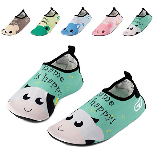 WXDZ Kids Water Shoes Swim Shoes Mutifunctional Quick Drying Barefoot Aqua Socks for Beach Pool MS0239 White cow 30/31