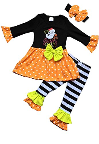 (Boutique Clothing Baby Girls Halloween Ghost Legging Skirt Outfit Set)