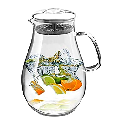 Hiware Glass Pitcher with Stainless Steel Lid, 64 Oz Water Carafe with Handle, Good Beverage Pitcher