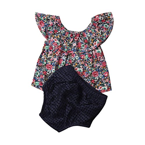 Old Navy Frog Costume 4t (AMA(TM) Toddler Kids Baby Girls Short Sleeve Floral T-shirt +Hollow Shorts Pants Outfits Clothes Set (3T, Navy))