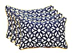 Set of 4 Indoor / Outdoor Decorative Lumbar / Rectangle Pillows - Sunbrella Lux Indigo w/ Yellow Cording