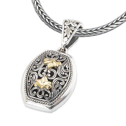 - 925 Silver Fleur-De-Lis Filigree Pendant with 18k Gold Accents