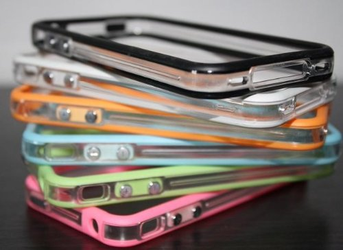6x Bumper für Apple iPhone 4 und 4s (1x schwarz, 1x weiß, 1x pink, 1x grün, 1x orange, 1x blau) Bumpers Tasche Case Hülle Schale Schutzhülle (1x black, 1x white, 1x pink, 1x green, 1x orange, 1x blue)
