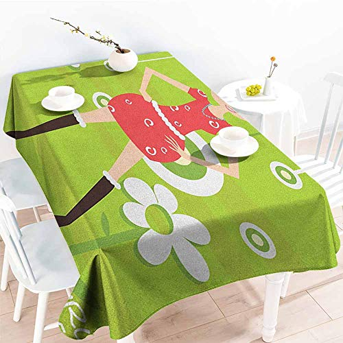 Willsd Small Rectangular Tablecloth,Zodiac Taurus Fashion Taurus Young Girl Standing on Green Floral Backdrop Teenage Cartoon,Party Decorations Table Cover Cloth,W54x90L Multicolor