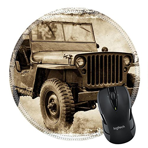 MSD Natural Rubber Mousepad Round Mouse Pad 22257322 Vintage offroader I retro style image of a Second World war American icon ()