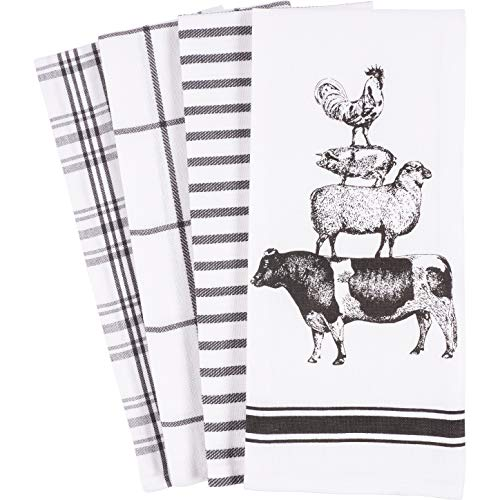 KAF Home Pantry Stacked Farm Animals Kitchen Dish Towel 18 x 28-inch Set of 4 (Cow Kitchen Towels)