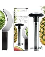 Watermelon Slicer & Pineapple Corer Set ◉ 304 Stainless Steel Kitchen Gadgets ◉ Kitchen Tools As Seen On Tv ◉ Melon Fruit Meat Slicer Cutter Corer Peeler Tongs ◉ Best Home Utensils ◉ Gift Card Item