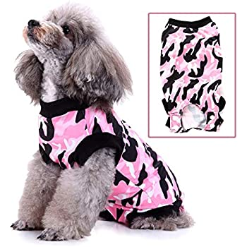 Zunea Pet Dog Cat Recovery Suit for After Surgery Cone Alternative Camo Soft Cotton Injured Care Protection Puppy Clothes Skin Diseases Prevent Lick Weaning Suit for Female Male Small Dogs Pink L