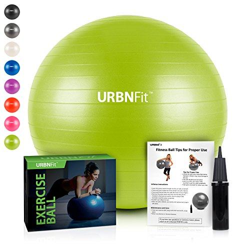 URBNFit Exercise Ball (Multiple Sizes) for Fitness, Stability, Balance & Yoga – Workout Guide & Quick Pump Included – Anit Burst Professional Quality Design (Green, 55CM)