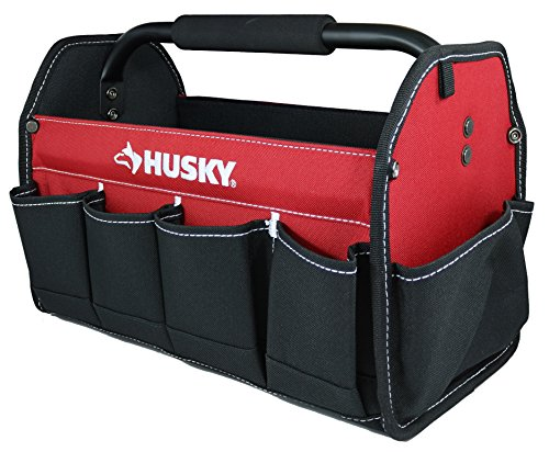 """Husky 398821 82042N12 15"""" 600 Denier Tool Tote with 10 External Pockets and Center Handle"""