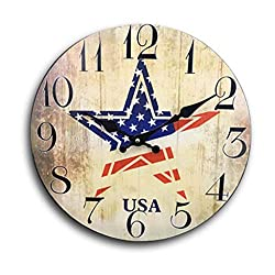 Home Sweet Home - 12 inch Simplicity Wooden Wall Clock, Silent Non Ticking Quality Quartz Battery Operated Numeral Design Rustic Country Tuscan Style Decorative Round Clock (Star)