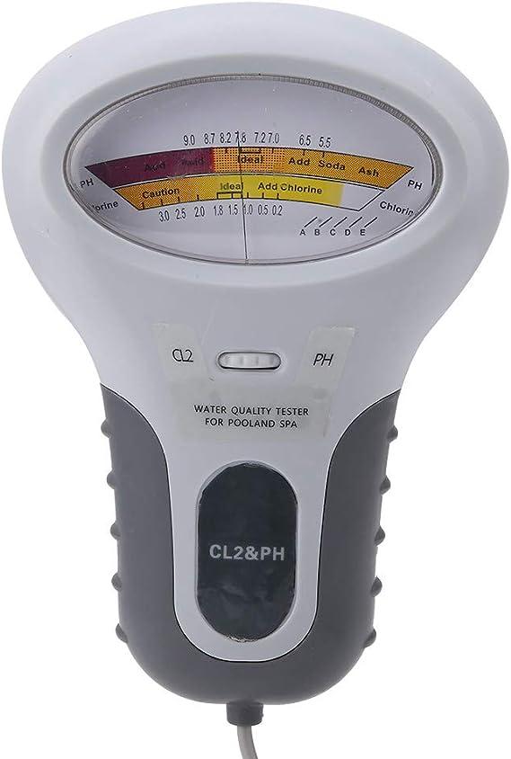 TOOGOO 2 en 1 M/ètre de Testeur de Niveau de Cl2 de Ph etde Chlore de Qualit/é de LEau pour la Piscine