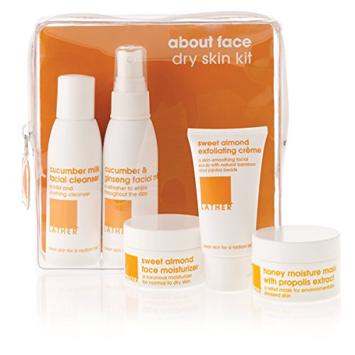 LATHER About Face Dry Skin Care Kit – travel friendly skin care kit contains everything needed to gently cleanse, hydrate, nourish and create glowing (Dry Skin Care Kit)