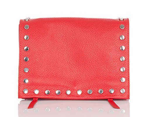 flap Moretti size Smooth Laura Small metallic Red bag flat round with leather tacks with gUqpwtx