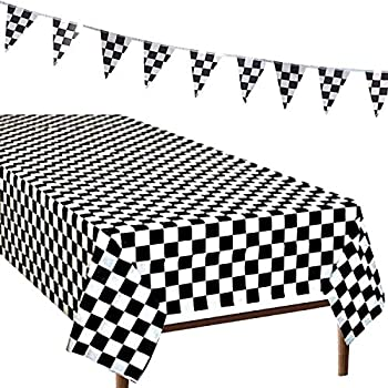 R ? HORSE 3Pack Plastic Banquet Disposable Black U0026 White Checkered  Tablecover Party Favor, 2 Checkered Racing Tablecloth + 1 Checkered Racing  Flag
