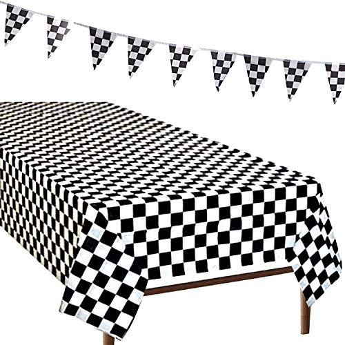 R ? HORSE 3Pack Plastic Banquet Disposable Black & White Checkered Tablecover Party Favor, 2 Checkered Racing Tablecloth + 1 Checkered Racing ()