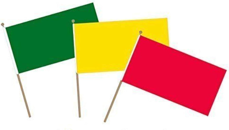 Pequeñas banderas de mano con temática de «semáforo», con colores rojo, amarillo, verde sobre un mástil para bandera de mano. 3 banderas completamente coloreadas como «semáforo», ideal para deportes escolares/juegos y diversión