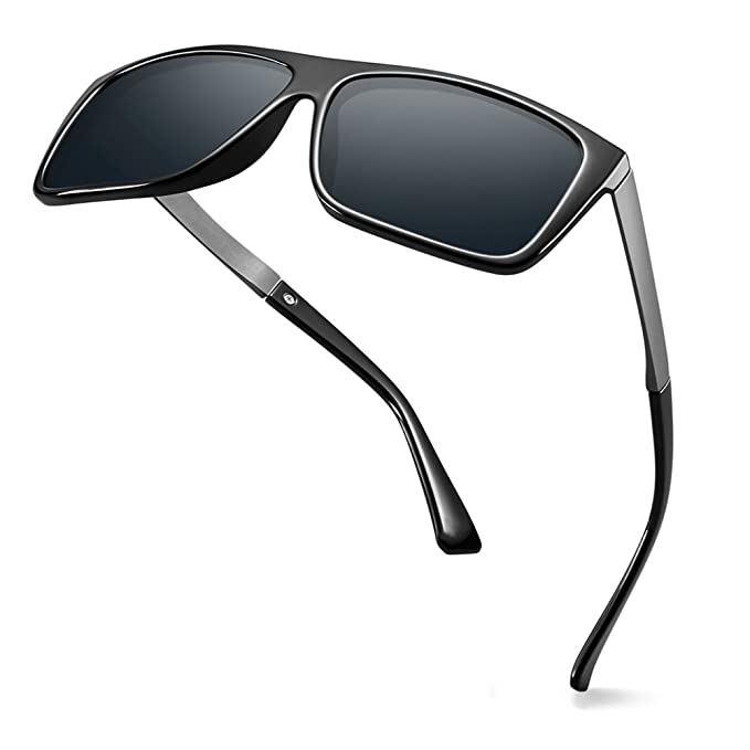 8ca70e1e2e576 Image Unavailable. Image not available for. Color  WELUK Retro Polarized  Sunglasses for Men Square Large Full Frame Ultra Light