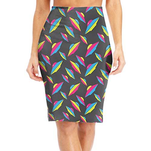 Womens High Waist Bodycon Midi Pencil Skirt Alien UFO Casual Slim Skirt White