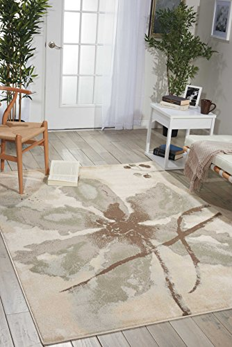 Nourison Euphoria EUP07 Rustic Vintage Floral Botanical Ivory Area Rug 3 Feet 11 Inches by 5 Feet 11 Inches, 3'11
