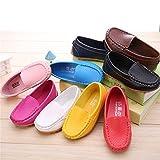 LONSOEN Toddler/Little Kid Boys Girls Soft Split Leather Loafer Slip-On Boat-Dress Shoes/Sneakers,Brown,7 M US Toddler