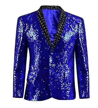 Xiao Maomi Mens Sequin Suit Blue Blazer Party Performance Uniform (L, Blue)