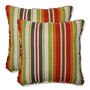Pillow Perfect Outdoor Roxen Stripe Citrus Throw Pillow, 18.5-Inch, Set of 2 by Pillow Perfect