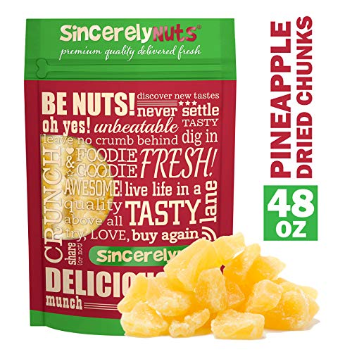 Sincerely Nuts - Dried Pineapple Chunks | Three Lb. Bag | Dehydrated Fruit Snack | Kosher, Vegan, Gluten Free ()