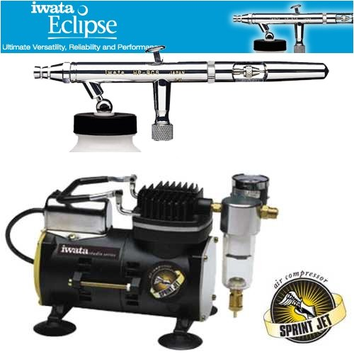 Iwata Eclipse HP-BCS Airbrushing System with Sprint Jet Air (Sprint Jet Airbrush Compressor)