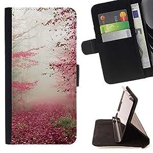 Momo Phone Case / Flip Funda de Cuero Case Cover - Hojas de otoño Otoño Rojo Naturaleza árboles forestales - Samsung Galaxy J3 GSM-J300
