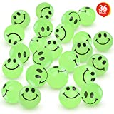Toys : ArtCreativity Glow in The Dark Smile Face Bouncing Balls - Bulk Pack of 36-1 Inch High Bounce Bouncy Balls for Kids, Glowing Party Favors and Goodie Bag Fillers for Boys and Girls