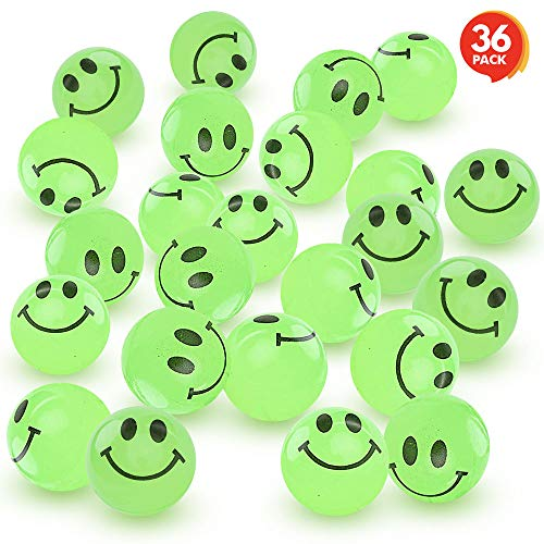 Glow In The Dark Bouncy Balls (ArtCreativity Glow in The Dark Smile Face Bouncing Balls - Bulk Pack of 36-1 Inch High Bounce Bouncy Balls for Kids, Glowing Party Favors and Goodie Bag Fillers for Boys)
