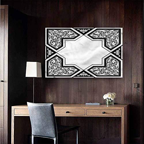 Gabriesl Waterproof Art Wall Paper Poster Oriental Curvilinear Floral Motifs Kitchen Room Wall Size : W36 x H24