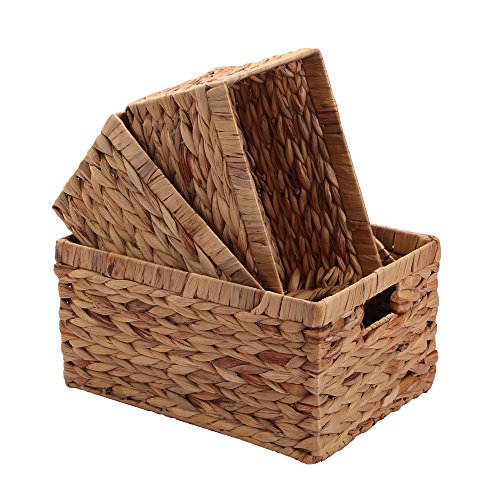(Storage Baskets,Woven Natural Water hyacinth Box with Handle,Kingwillow.(Set of 3))